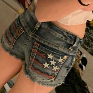 american flag detailed denim cutoff shorts